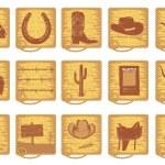 Vector cowboy symbols for design — Stock Vector