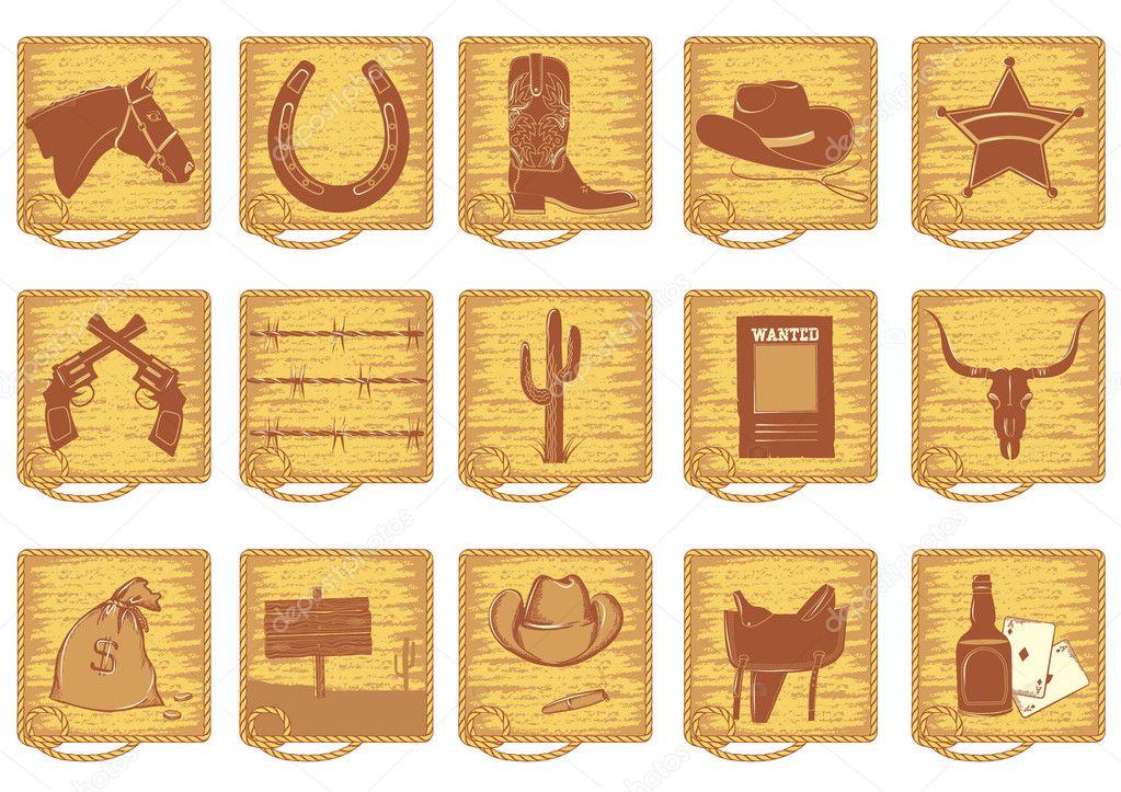 Símbolos De Vaquero Para El Diseño Del Vector