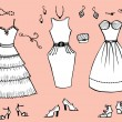Fashion dresses and accessories for woman.Vector graphic clothes — Imagens vectoriais em stock
