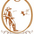 Vector cowboy poster background for design with rope frame - 