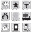 Royalty-Free Stock Vector Image: Cowboy life elements .Vector black silhouettes symbols on white