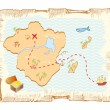 Treasure map. Vector old paper background — ストックベクタ