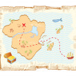 Treasure map. Vector old paper background — Imagens vectoriais em stock