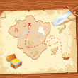 Old parchment with pirate map and dagger- vector illustration. - Stock Vector