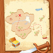Royalty-Free Stock Vector Image: Old parchment with pirate map and dagger- vector illustration.