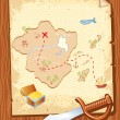 Old parchment with pirate map and dagger- vector illustration. — Stock Vector #5005317