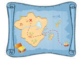 Treasure map. Vector old paper background — Stock Vector