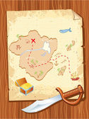 Old parchment with pirate map and dagger- vector illustration. — Stock Vector