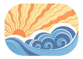 Abstract sea waves. Vector illustration of sea landscape — Stock Vector