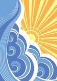 Resumen las olas del mar. ilustración vectorial del paisaje de mar — Vector de stock