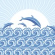 Vector blue dolphins jumping in sea in sun day — Stock Vector
