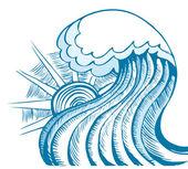 Sea waves. Vector illustration of sea landscape — Stock Vector