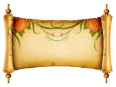 Floral vintagel background.Old paper scroll with rose — Stock Photo