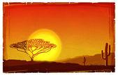 Illustrazione di tramonto africano sulla vecchia carta texture.savanna backgro — Foto Stock
