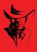 Vector portrait of cowboy on red.Strong man in cowboy hat — Stock Vector