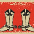 Cowboy boots .Vector graphic image  with grunge background - Stok Vektör