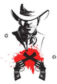 Cowboy in hat with blood guns.Vector graphic poster — Stock Vector