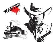 Vector bandit and locomotive. Western poster — Stock Vector