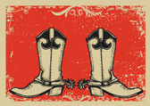 Cowboy boots .Vector graphic image with grunge background — Cтоковый вектор