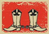 Kovbojské boty .vector grafický obrázek s pozadím grunge — Stock vektor