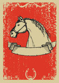 Horse poster.Vector graphic image with grunge background — Stock Vector