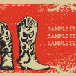 Cowboy boots .Vector graphic image  with grunge background for t - Stock Vector