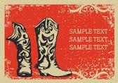 Botas de vaquero .vector imagen gráfica con fondo grunge para t — Vector de stock