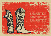 Cowboy boots .Vector graphic image with grunge background for t — 图库矢量图片