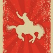 Vector de stock : Rodeo cowboy.Wild horse race.Vector graphic poster with grunge b