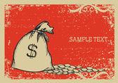 Peníze pytel .vector grafický obrázek s pozadím grunge — Stock vektor