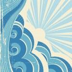 ondas do mar vintage e sol. ilustração vetorial da paisagem do mar — Vetorial Stock