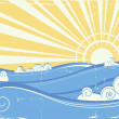 Vintage sea waves. Vector illustration of sea landscape with sun - Stock Vector
