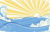 Vintage sea waves. Vector illustration of sea landscape with sun — Stock Vector