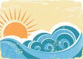 Grunge sea waves. Vintage vector illustration of sea landscape — Stock Vector