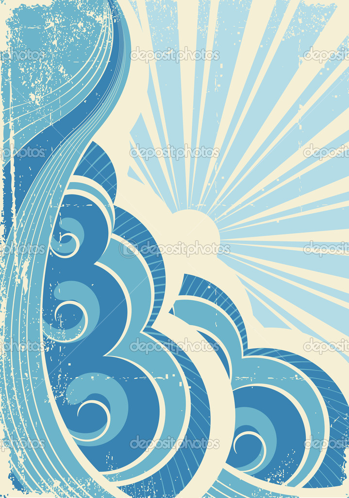 Vintage sea waves and sun. Vector illustration of sea landscape — Stock Vector #5237165