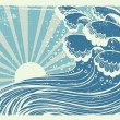 Storm in blue sea.Vectorgrunge image of big waves in sun day - Stock Vector