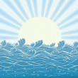 Sea waves in sun day. Vector illustration of nature landscape — Stock Vector #5247654