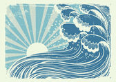 Storm in blue sea.Vectorgrunge image of big waves in sun day — Stock Vector