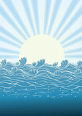 Sea waves in sun day. Vector illustration of nature landscape — Stock Vector