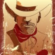 Vector portrait of cowboy.Stronge man in cowboy hat .Grunge west — Stockvektor