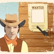 Cowboy and gun. Grunge image  with wanted paper — Stock Vector