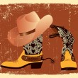 Vector shoes and hat for cowboy .Grunge image - Stock Vector