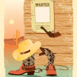 Cowboy West life. Special shoes and gun for cowboy.Grunge wester - Stock Vector