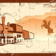 Vector cowboy and locomotive. Western bandit life — Stok Vektör #5289729