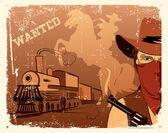 Vektorové kovboj a vlak. západní grunge plakát — Stock vektor