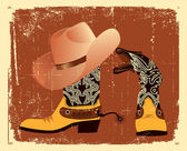 Vector shoes and hat for cowboy .Grunge image — Stock Vector