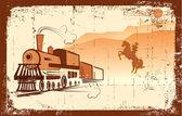 Vector cowboy and locomotive. Western bandit life — Stock Vector