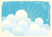 Blue sky with beautifull clouds.Vintage vector image — Stock Vector