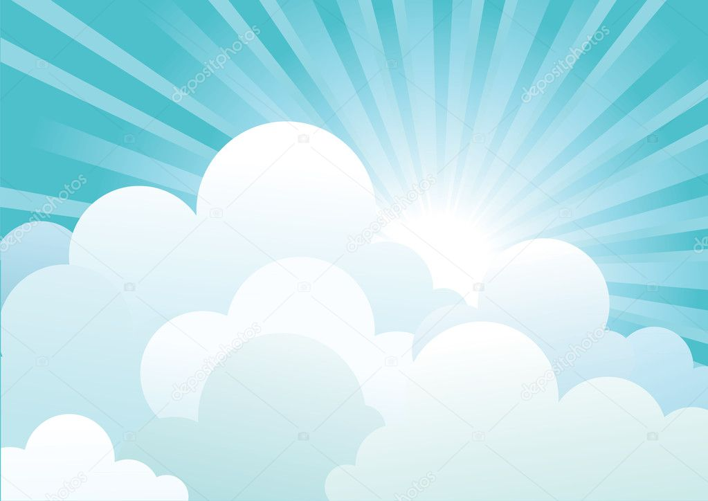 Sun and blue sky with beautifull clouds.Vector image  Stock Vector #5359755