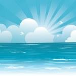 sol e céu azul com beautifull clouds.vector imagem — Vetorial Stock